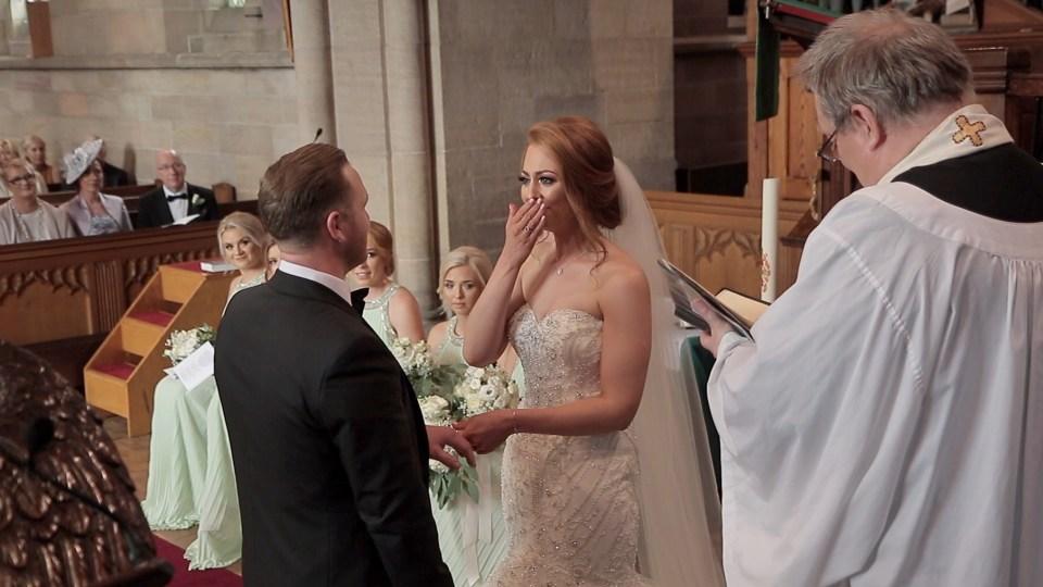 Emotional wedding vows at Saint John the Evangelist in Sandbach