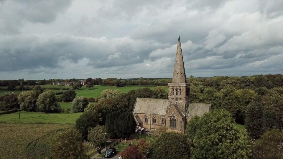 Drone image of Saint John the Evangelist Church in Sandbach, Cheshire