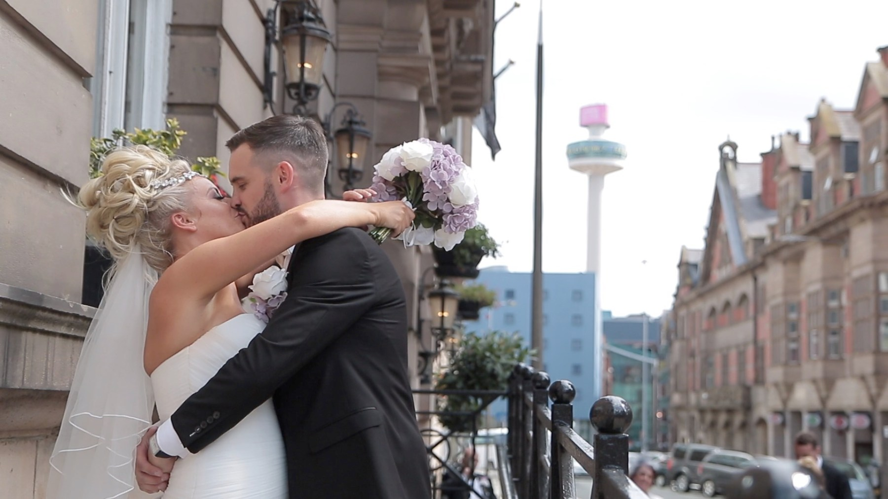 Bride and groom at The Richmond Hotel in Liverpool