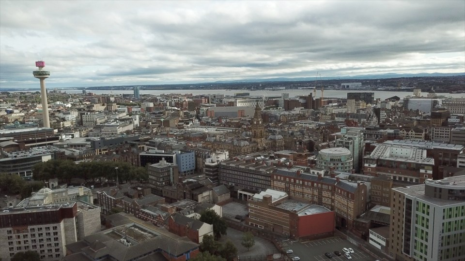 Videographer drone image of Liverpool city centre