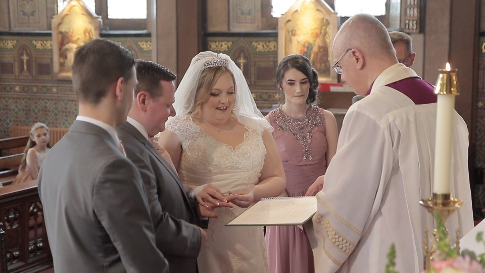 Weddiong vows in Sacred Heart Church in Colne, Lancashire