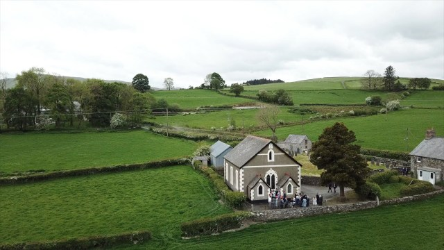 Llangwm Chapel in North Wales, aerial view