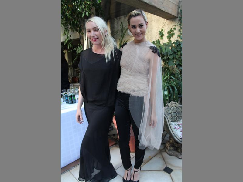 Flow and beauty... Suzaan Heyns stands with her model Jay Anstey, in support of Fur Free SA.