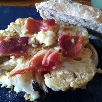 Duck Fat-Roasted Cauliflower Steak and Prosciutto on Lavender Sourdough