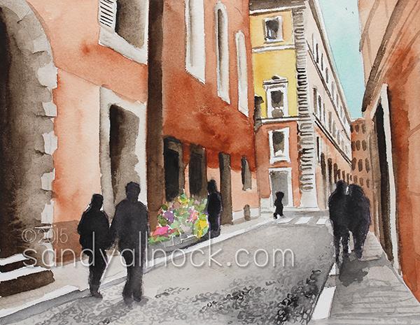 Sandy Allnock Rome Watercolor Paintings