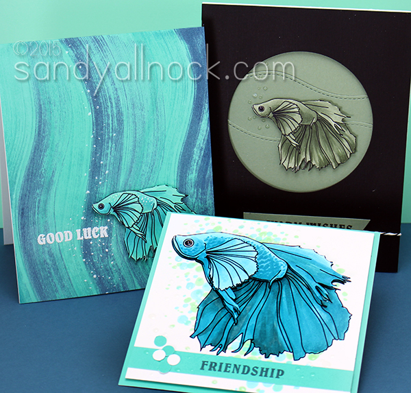Sandy Allnock - betta fish digital stamp bundle, sample cards