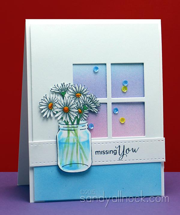 Sandy Allnock - Copic Coloring Glass Vases Daisies