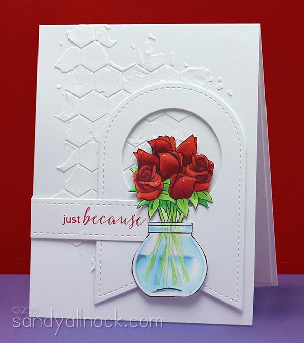 Sandy Allnock - Copic Coloring Glass Vases Roses