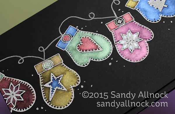 Sandy Allnock Watercolor on Black - mittens