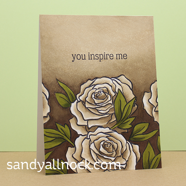 Sandy Allnock Antique Roses Copic Card