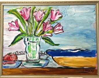Tulips & Bleu Bowl
