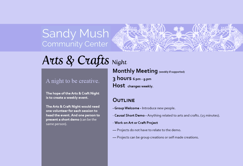 Sandy Mush Community Center Arts & Crafts Night