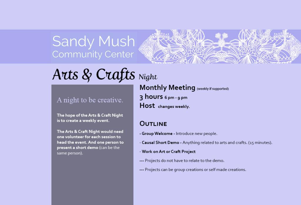 Sandy Mush Community Center Arts & Crafts Night