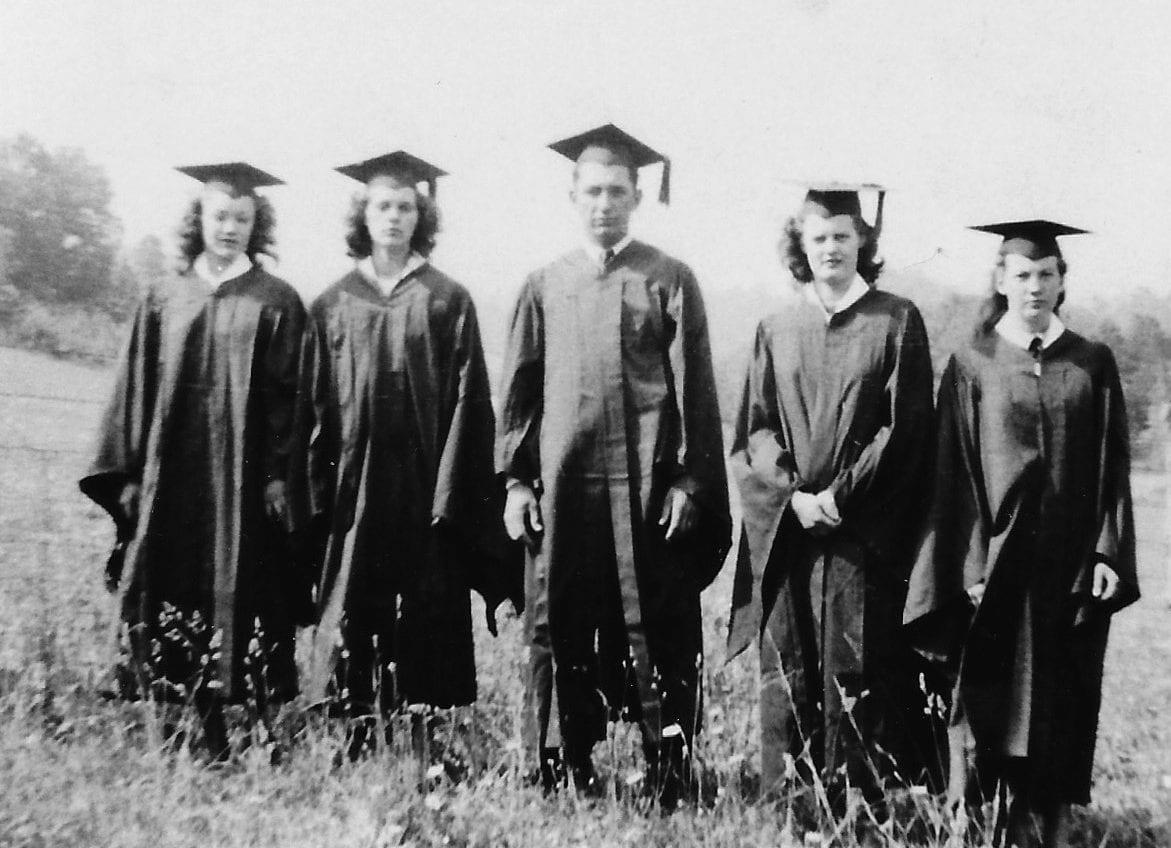 five graduates of Sandy Mush School Class of 1948