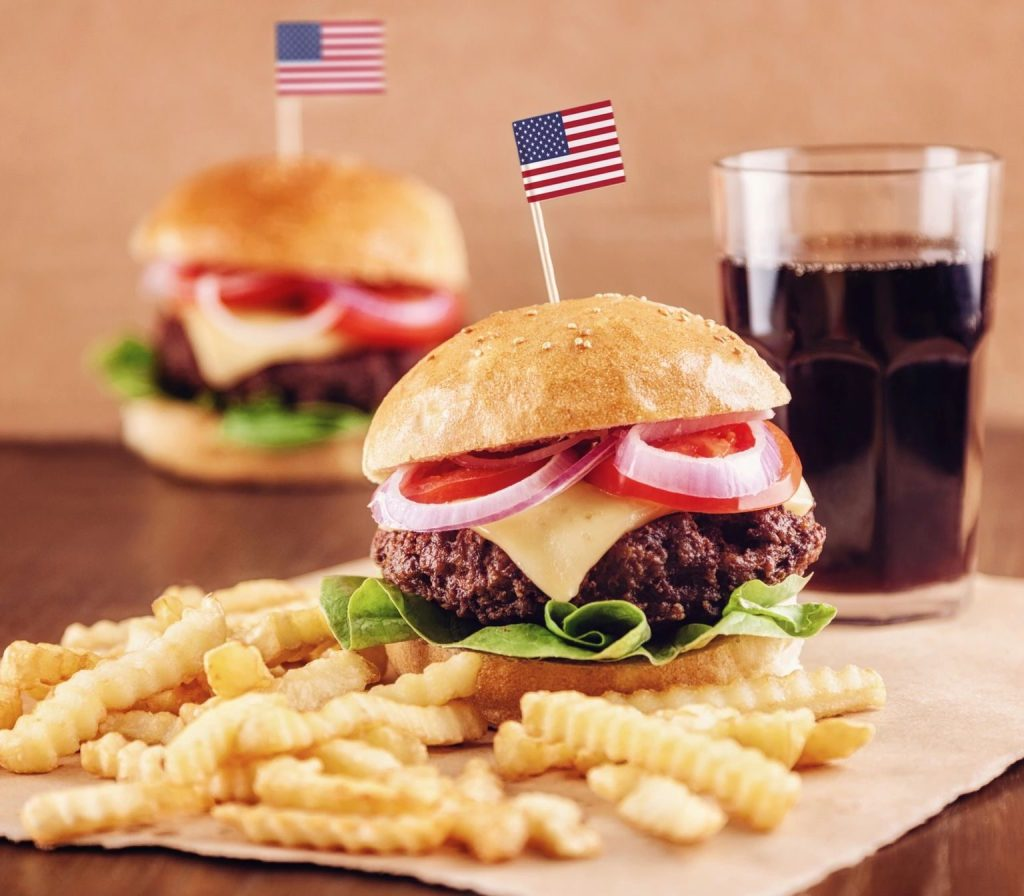 hamburger, fries, coke, american flag