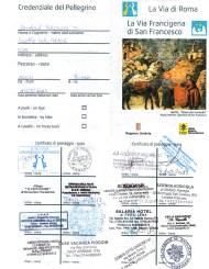 2013 Credential from Cammino di San Francesco