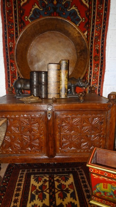 Mid 20th century carved wood chest from the Swat valley, northern Pakistan