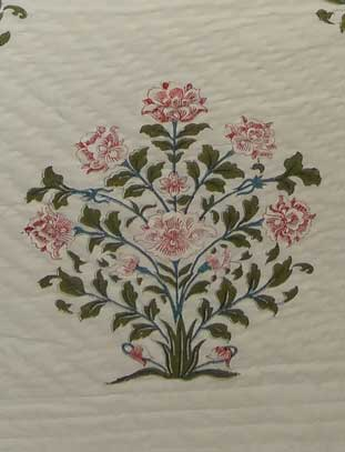 Pink Flower with Leaves Printed on a Cotton Bedspread