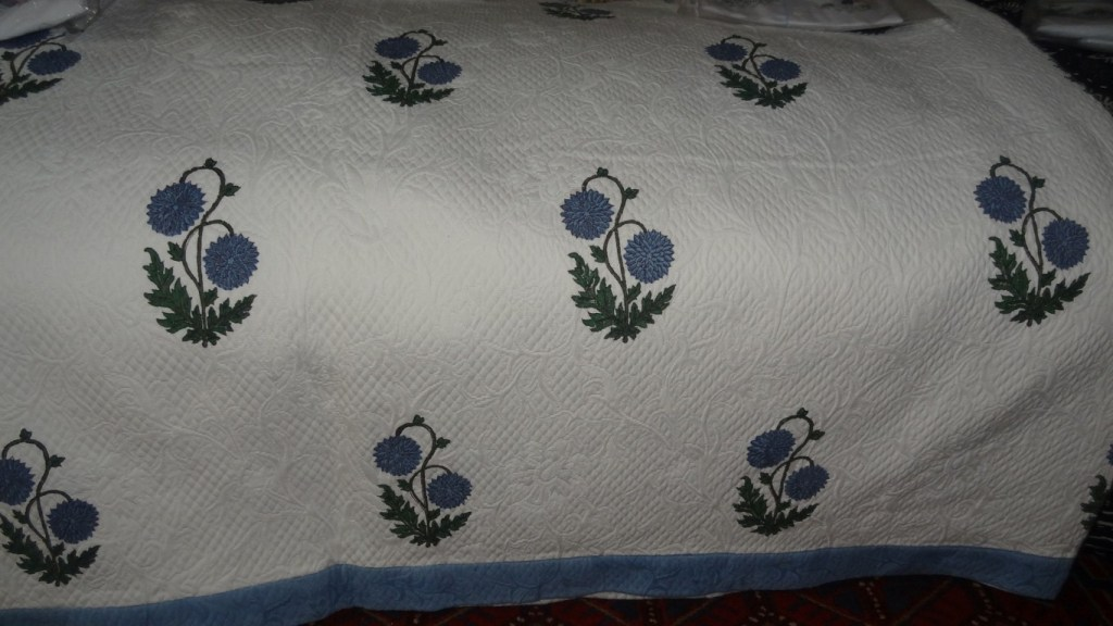 Cornflower design quilted bedcover