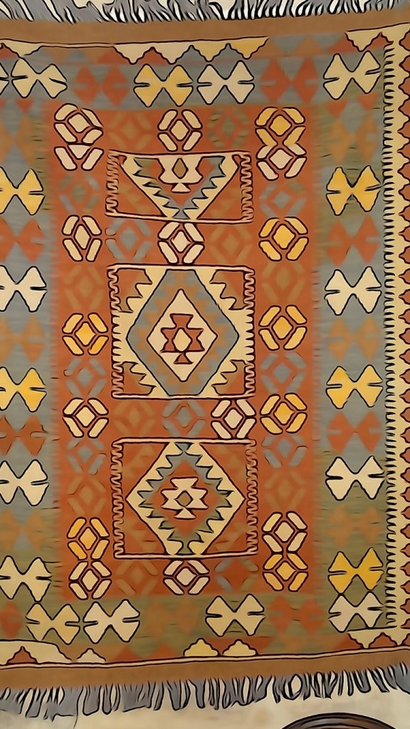 Afghan kilim woven with vegetable dyes