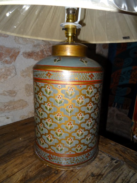 Pale blue painted tin lamp base from Rajasthan
