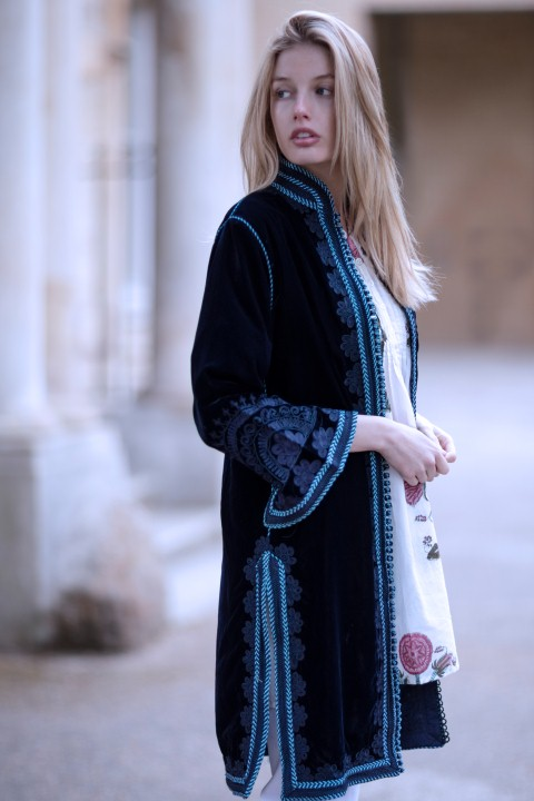 Moroccan blue velvet knee length coat