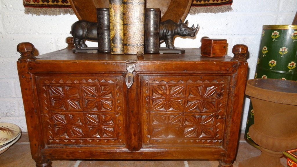 Carved wood Swati chest from the North-West Frontier of Pakistan