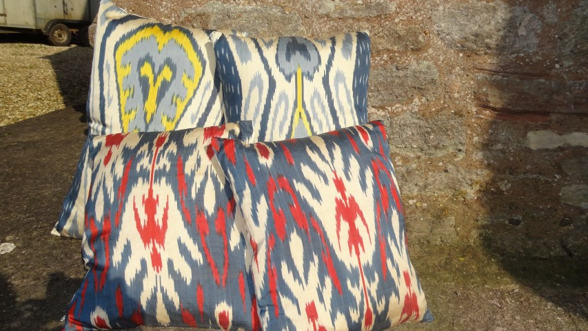 Ikat cushions from Central Asia