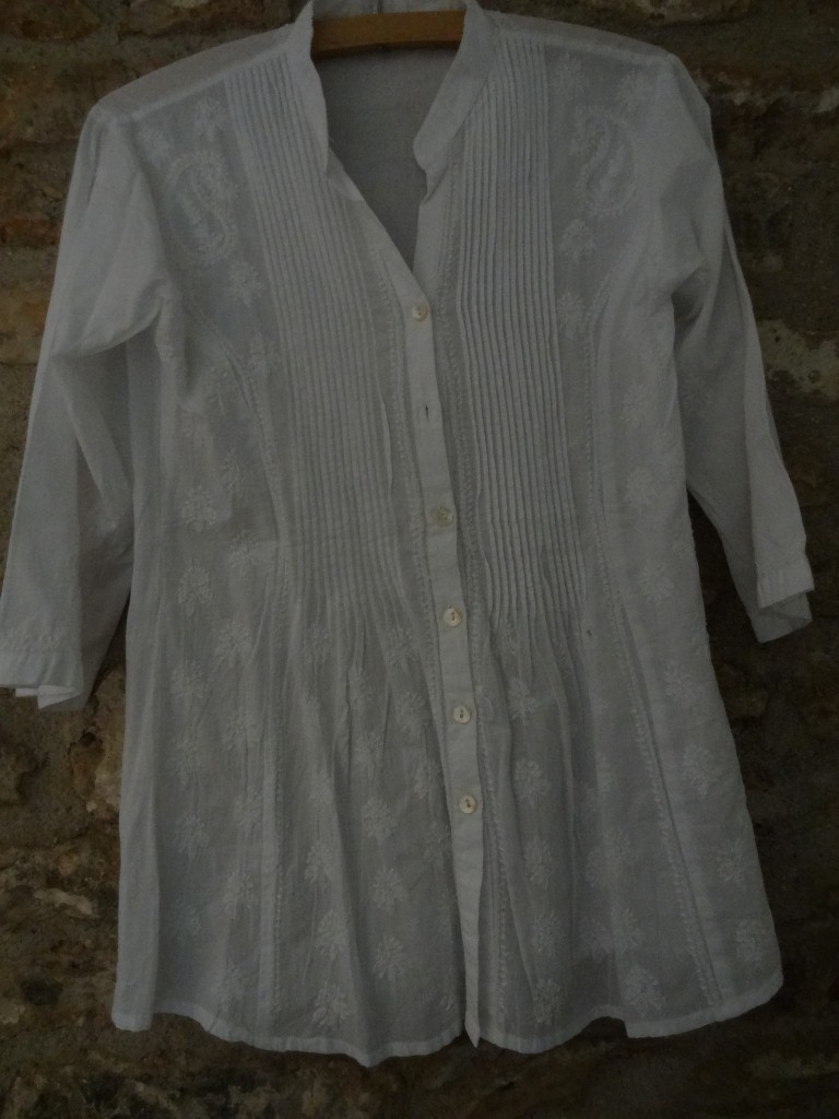 Plain white Indian cotton kaftan top