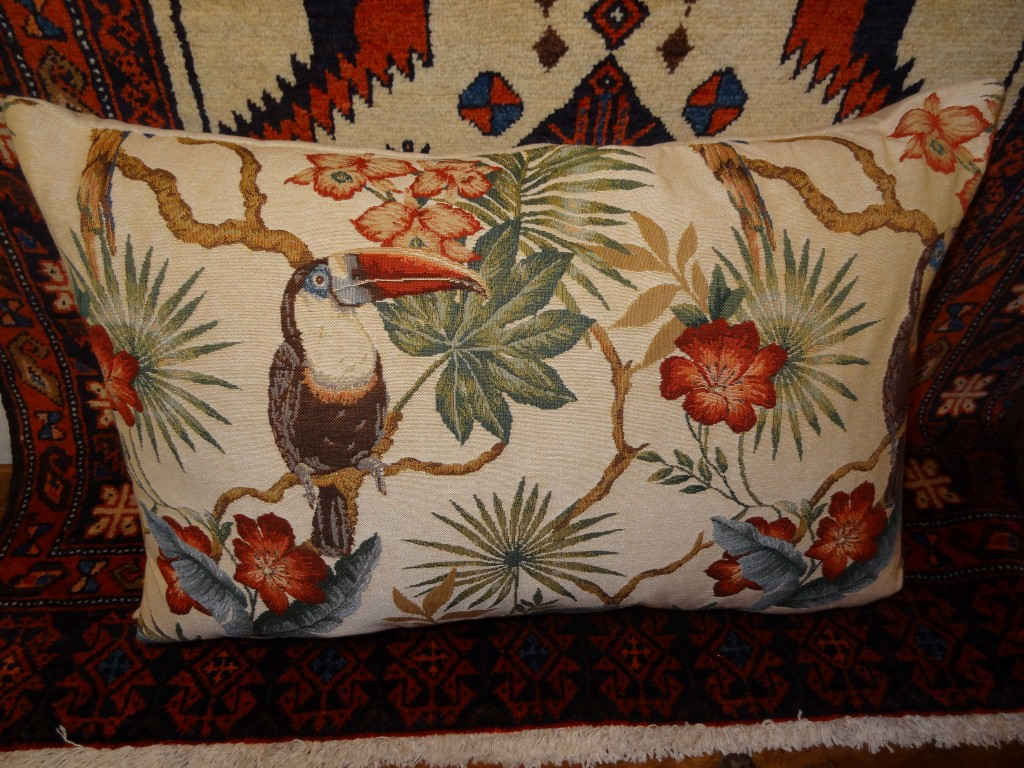 """Cream """"Toucan and Parrot"""" cushion"""