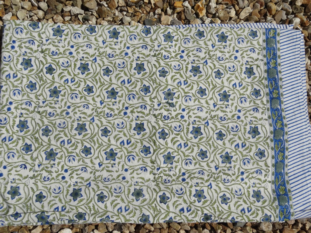 Blue and green flower block print bedspread/tablecloth