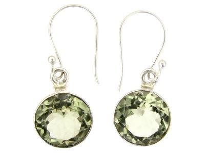 Round cut green amethyst silver earring