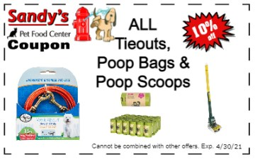 tieouts, poop bags and scoops 4-21