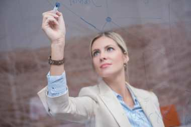 business woman at office/responsibility for self improvement