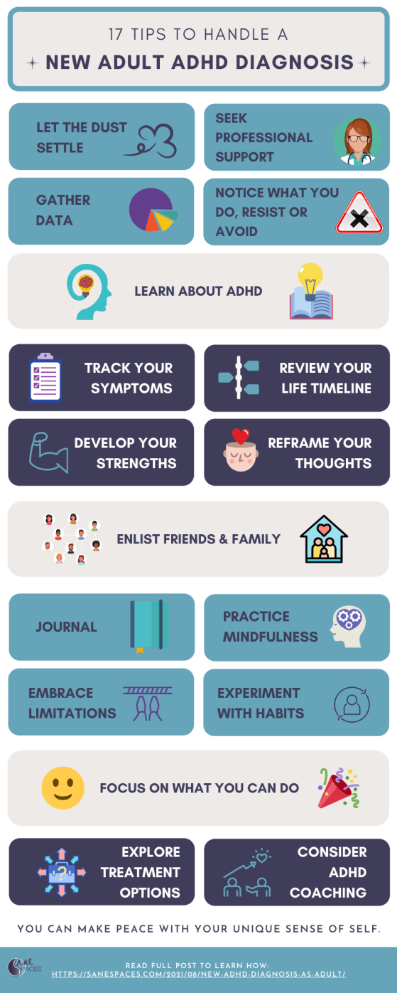 17 Ways to Handle a New Adult ADHD Diagnosis Infographic