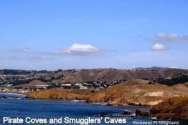 Picture taken from our windows: Pirate Coves & Smugglers' Caves.
