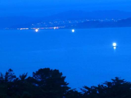 Our Night View: Crab Fishing Boats. San Francisco: is all lights in background.