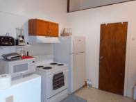 New appliances: sink, cabinets are opposite & have all kitchen items for cooking