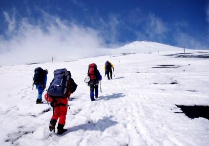 16 登山道沿いにポールが立っている。