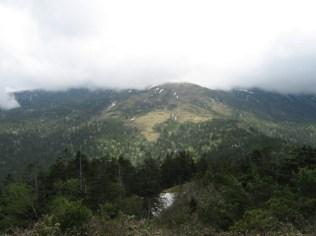 山頂が雲に隠れていますが北ノ俣岳の大斜面。スキーで滑りたくなります