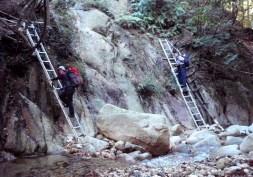 白谷道下部は荒れたところにアルミ梯子がかかっていた。