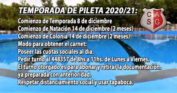 Club Atlético San Genaro: Temporada de pileta 2020/2021