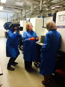 Channel 4 News filming in the Sequencing Laboratory at the Sanger Institute. Credit: Genome Research Limited