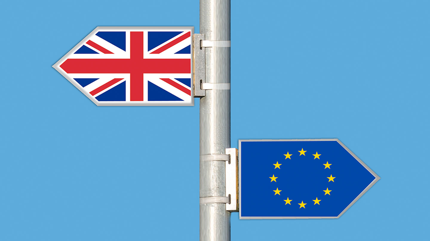signposts with Uk and EU flags