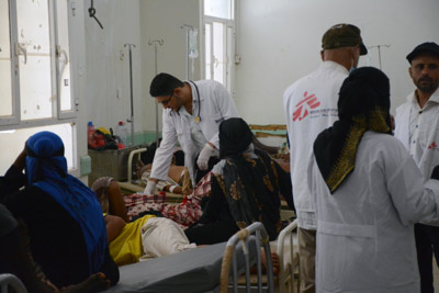 An MSF medical team is working together with MoH staff in the cholera treatment centre in Al-Sadaqa hospital in Aden. Image credit: Malak Shaher, MSF