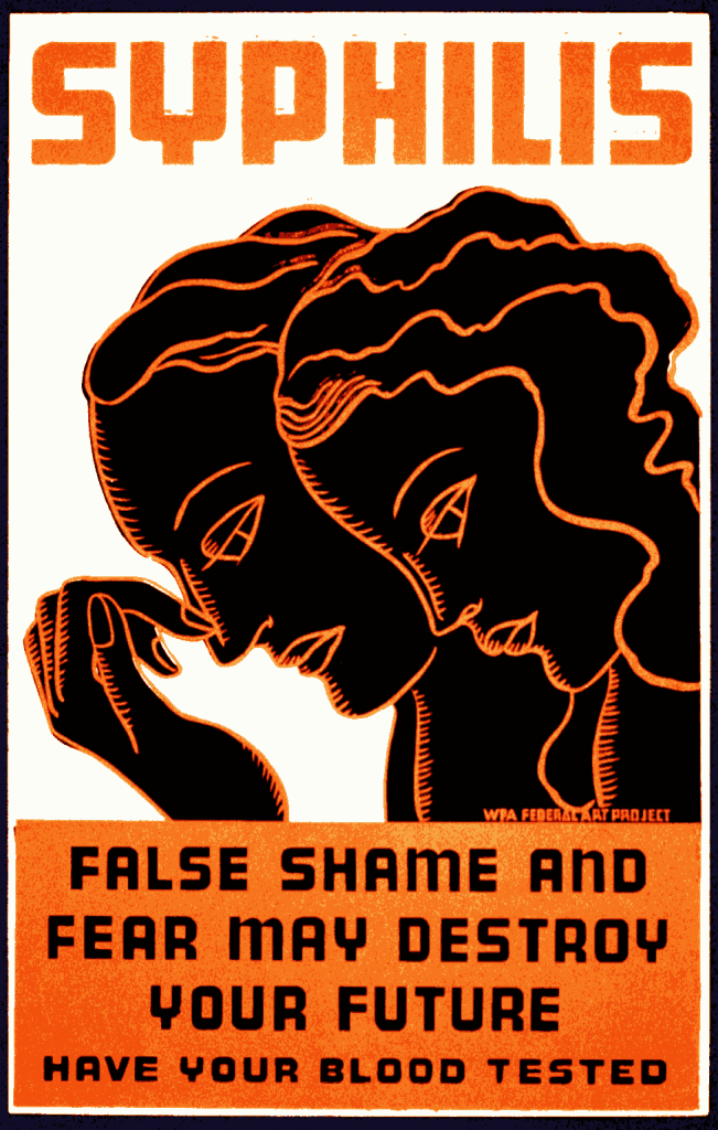 Poster for treatment of syphilis. False shame and fear may destroy your future: Have your blood tested. Created/Published: Rochester, N.Y.: WPA Federal Art Project, between 1936 and 1938. Creator: Hans Erik Krause, born 1899, artist. Repository: Library of Congress Prints and Photographs Division Washington, D.C. 20540 USA https://www.loc.gov Public Domain. Library of Congress Prints and Photographs Division Washington, D.C.