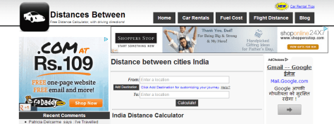 Distance between cities India-Road Distance India-Driving Distance India-Distance calculator India