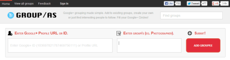 Group-as - Find people grouped by interest to circle on Google+.