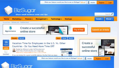 Small business news; tips; networking - BizSugar