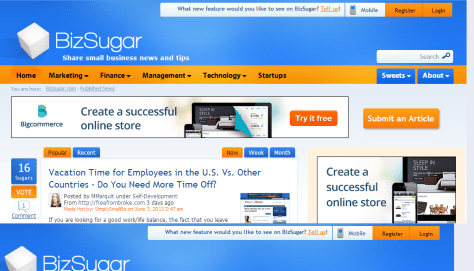 Small business news; tips; networking - BizSugar